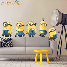cute yellow man movie wall stickers for kids rooms home decor 3d cartoon wall decals art diy posters children's gift pvc mural(China)