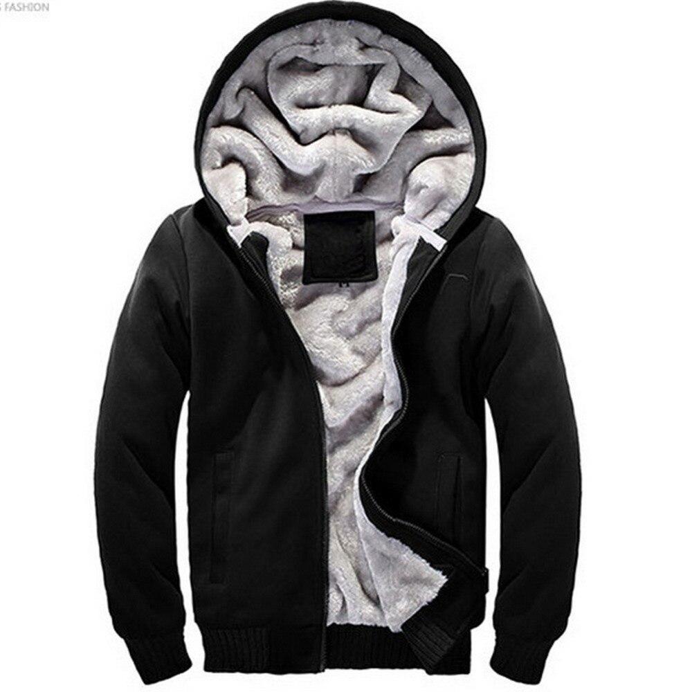 2017 New Winter Thinck Mens Hoodies Sweatshirts Long Sleeved Solid Zipper Coat Add Cotton Sweatshirt Fashion Outwear Plus 4XL