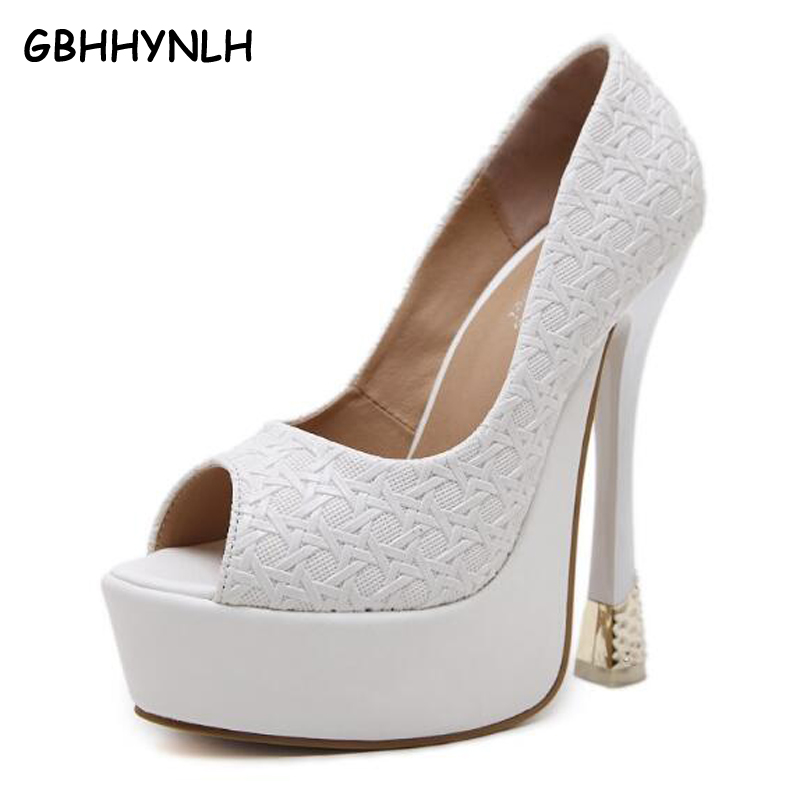 GBHHYNLH summer spring shoes women pumps sexy open toe high heels shoes pumps women heels 2018 white wedding shoes woman LJA187<br>