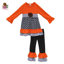 China Manufacture Charming Girls Boutique Fall Outfit 100% Cotton Pom Pom Dec Polk Dots Double Ruffle Clothes F042(China)