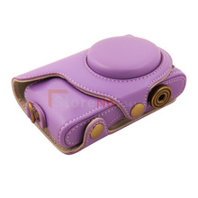 Free shipping + tracking number New PU Leather Camera Case Bag for Samsung NX Mini Digital Camera 9mm Lens Strap Purple