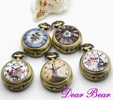 Victorian Style Clock Pattern The Paris Eiffel Tower Quartz Pocket Watch Necklace with mirror inside, 12pcs/lot, free ship(China)