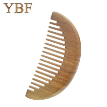 YBF Professional Widen Teeth For Long Curls Fashion Half Moon Haircomb Hairdressing Health Care Green sandalwood Wooden Combs(China)