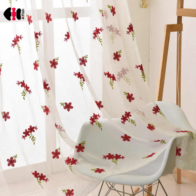 Floral Tulle Blinds Modern Sheer Fabrics Red Kitchen Door Curtains Dining Curtains Living Room Window Treatments WP261D