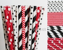 100pcs Minnie Drinking Paper Straws Mix,Black Striped and Swiss Dot,Red Chevron and Polka Dot,Mouse Birthday Party,Craft Straws