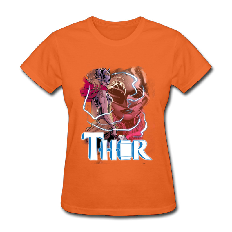 Gift Thor Storm T Shirt Coupons Summer Short Sleeve O-Neck Tops & Tees All Cotton Women Casual Clothing Shirt Free Shipping Thor Storm orange