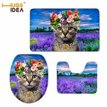 HUGSIDEA 3D Cute Animal Cat Printed Slip Resistance Carpets Home Hotel Decor 3PCS Set Bathroom Mat Warm Rugs for Toilet Pads