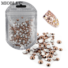 Mixed Size SS3-SS30 Rose Gold Crystal 3D Nail Rhinestones Flatback Non Hotfix Glitter Nail Art Stones DIY Nail Phone Decorations(China)