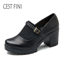 CESTFINI Black Heels Women Shoes Platform High Heels Shoes Mary Janes Women Pumps Size 36-41 #P001(China)