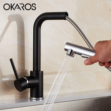 OKAROS Kitchen Swivel Romovable Faucet Black Panited Pull Out Down Water Saver Mixer Tap Modern Faucets Torneira Parede(China)