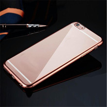 Best Price Protective Phone Case Clear Crystal Rubber Plating TPU Fashion Soft Cover For iPhone 6 plus 5.5Inch Table Case(China)