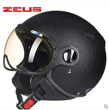 ZEUS 210C Leath cover MOMO Motorcycle helmet, Free shipping, Removable washable check pads, Removable sun visor, ECE approved