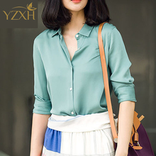 S-XXXL Fashion Light green silk satin blouse ladies casual long sleeve button Turndown Collar real silk satin blouses shirts