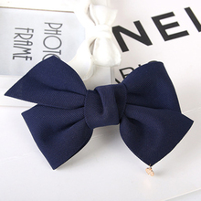 7 Solid Colors Great Cloth Bow Knot Small Ornament Pendant Hair Clips Girls Women Barrettes Headwear(China)