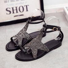 Buy 2017 New Arrival Summer Fashion Women Brand Casual Shoes Genuine Leather Lady Leisure Sandals Black Soft Sole Bling Star Simple for $29.80 in AliExpress store