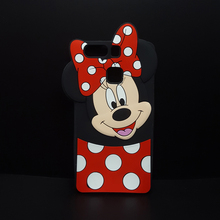 Cute 3D Cartoon Case for Huawei P9 G9 Lite/P10 Lite/P10Plus Mickey Minnie Mouse Polka Dot Soft Silicone Cover Rubber Phone Case