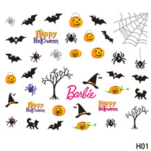 1 Sheet Halloween Christmas Snowflake Nail Sticker Mixed Decals Nail Art Water Transfer Stickers Full Wraps DIY Nail Tips