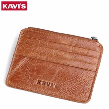 KAVIS Brand Genuine Leather Card Holder Capacity Zipper Female Fashion Men Women ID Card Wallets With Coin Purse Slim and Mini(China)