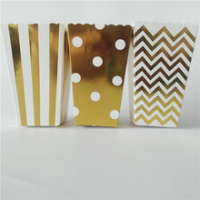 12pcs Gold Striped Dot Mini Stiff Paper Party Popcorn Boxes Pop Corn Candy/Sanck Favor Bags Wedding Birthday Movie Party