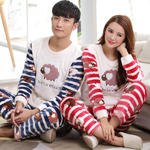 New Warm Winter Couple Pyjamas Sets Women Thick Warm Suit Soft Flannel Long Sleeve Men Cartoon Striped Pants Sleepwea