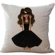 Manufacturers Supply  New Urban Long Hair Girl Linen Printed Throw Pillow Case Room Bedside Back Pillowcase 45*45 Cm