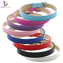 "10PCS 8MM leather bracelet unisex for charms DIY wristband bracelets for women"" Mix Color"" Fit slide letter LSBR015*10"