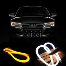 2X 45cm Daytime Running Light Universial Flexible Soft Tube Guide Car LED Strip White DRL Yellow Turn(China)