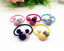 2Pcs/A pair Kids Hair Holders Cute Mickey Rabbit Flower Knot Bow Rubber Hair Band Elastics Accessories For Girl Scrunchy Tie Gum