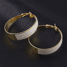 Retro Basketball Wives Earrings Women Big Round Scrub Hoop Earring Large Circle Loop Earring Silver Gold Female Fashion Jewelry(China)