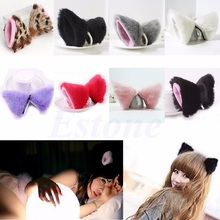 1 Pair 6 Colors 10x10x8cm Faux Rabbit Fur Hair Clip Cosplay Halloween Party Cat Fox Ears Long Fur COSPLAY Party Fox Ear Clip