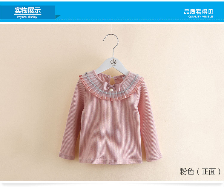 2018 Spring Autumn 100% Cotton White Grey Pink Solid Color Long Sleeve Pleated Turn-Down Collar Neck T Shirt For Girls 10 Years (3)