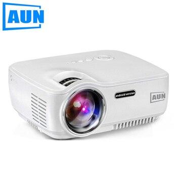 AUN Proyector AM01S Situado en Android WIFI Bluetooth 1400 Lúmenes LLEVÓ el Proyector para Cine En Casa HDMI Cable Libre Gafas 3D