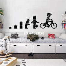Evolution Of The Cycling Lego man Wall Art Sticker Childrens Vinyl Mural Nursery Home Decor Mural Wallpaper #T453