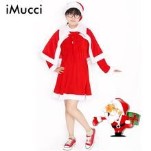 iMucci Red Women Christmas Cloth Set with Hat Cape Dress for Lady Santa Claus Clothing Costume Long Sleeve New Year Outfits Sets