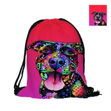 Bad Pitbull Custom 3D Pet Dog Printing Double Sides Unisex Backpack School Bag Cheap Travel Drawstring Backpack Fast Food Bag