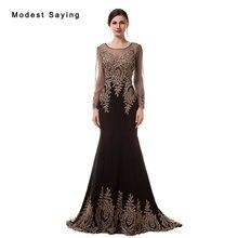 Elegant Black Mermaid Beaded Lace Long Sleeves Evening Dresses 2017 Formal  Engagement Party Prom Gown vestido longo de festa 14cabc371204