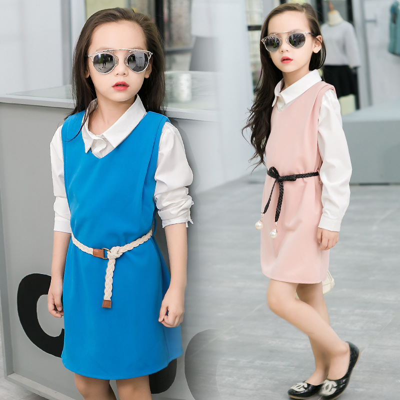 2017 Kids Costumes Childrens Clothes Two Pieces Dress &amp; Shirt Baby Girls Clothes Set Sweet Spring Autumn Kids Outfits Suits<br><br>Aliexpress