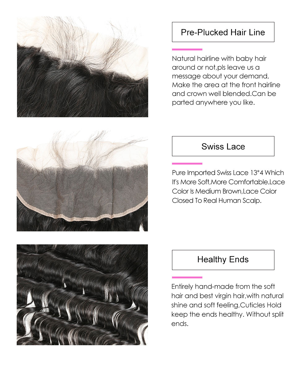 Hair Villa Human Hair 13*4 Ear to Ear Lace Frontal Brazilian Loose Wave Non-Remy Hair Weave Free Part Frontal With Baby Hair