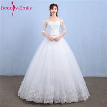 Buy Beauty Emily Luxury Lace A-Line White Wedding Dresses 2018 Half Sleeve V-Neck Lace Court Train Tulle Bridal Gowns for $68.39 in AliExpress store