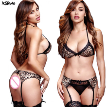 XSRWO 2017 New fashion sexy lingerie Leopard lace Three Point sexy Bikini Bra+expose pants  Deep-V  erotic lingerie sets