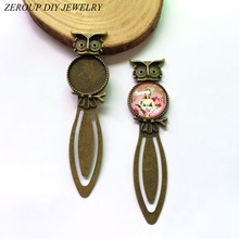 ZEROUP 3pcs/lot 20mm round cabochon antique bronze plated owl bookmark tray settings supplies for jewelryBA-023(China)
