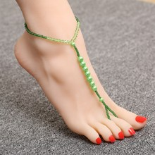 Hesiod 1PC Sexy Green Glass Beads Anklet One Layer Chain Foot Anklet Elastic Beaded Foot jewellery(China)