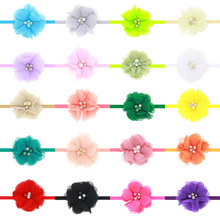 TINSAI Flower Hair Bow Children Chiffon Set Auger Pearl Headband Baby Elastic Hairband New Baby Girl Hair Accessories(China)