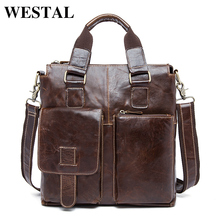 WESTAL Genuine Leather Men Bag men's Briefcase Fashion leather Men's Messenger Bags Tote Shoulder crossbody bags Handbags 8259