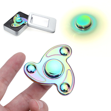 New Colorful Rainbow Creative Metal Tri-spinner Fidget Toy Metal EDC Hand Spinner For Autism Rotation Time Long Anti Stress Toys