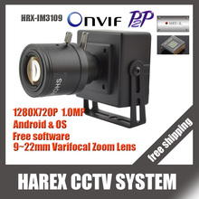 1280 * 720P 1.0MP mini IP Camera ONVIF 2.0 9-22mm manual varifocal zoom lens Plug and Play With bracket. Free shipping
