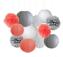 12pcs Mixed Coral Grey White Tissue Paper Pom Poms Paper Lanterns Girl Baby Shower Wedding Party Decor