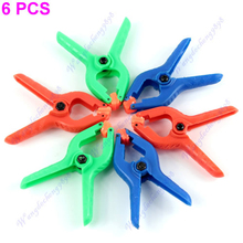 1Set 6 pcs Colorful Hard Plastic Micro Spring Clamps Set DIY Tools Grip Clips wholesale/retail-Y122