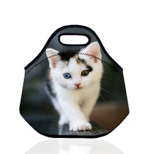 10 Styles 3D Cat Portable Bag Thermal Insulated Cooler Neoprene Lunch Bag Waterproof Picnic Bag Storage Bag Lovely Kids Gift