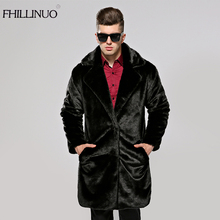 FHILLINUO Men fur coat imitation fur mink coats long sleeve men turn collar clothing overcoat fur outerwear faux mink jacket(China)